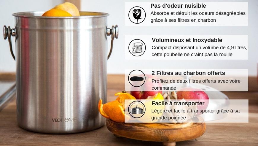 Poubelle Veohome Poubelle A Compost De Cuisine Sans Odeur Et En